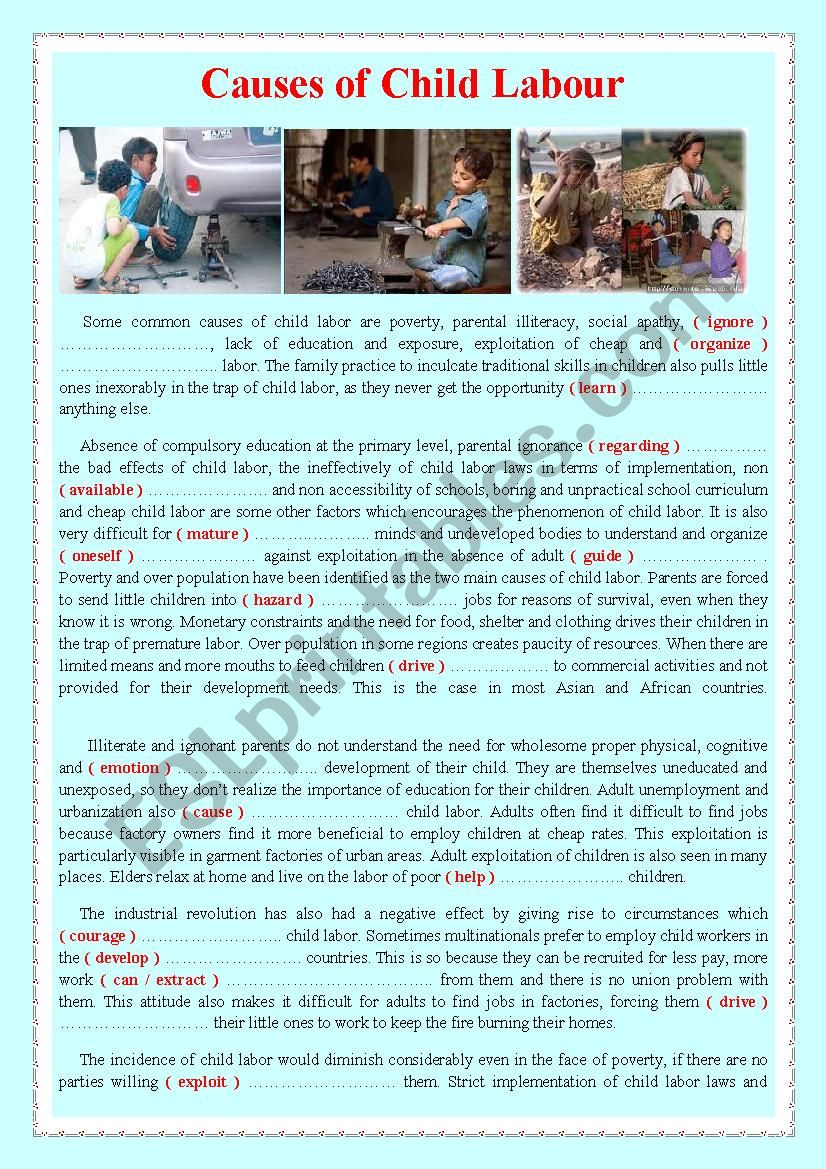 Causes of Child Labour worksheet