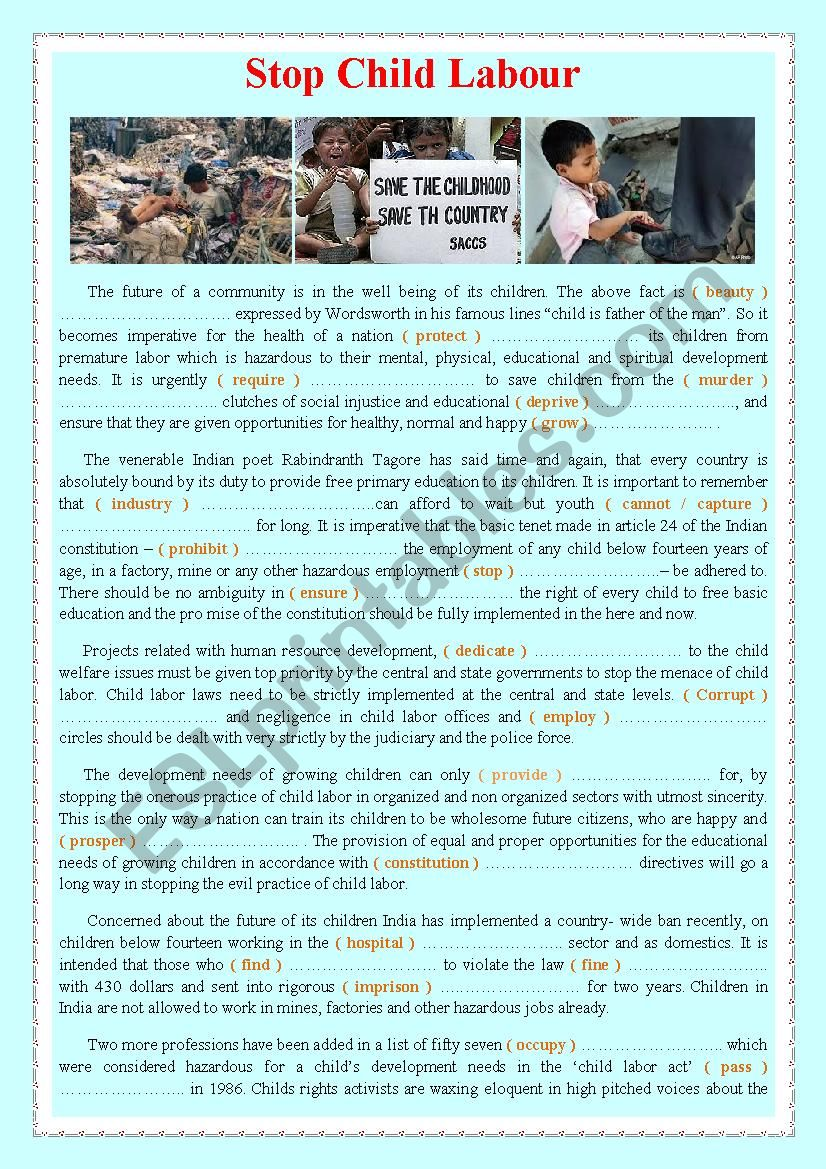 Stop Child Labour worksheet