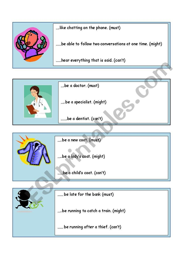 modals of deduction probability must might can t speaking cards esl worksheet by terri lawson. Black Bedroom Furniture Sets. Home Design Ideas