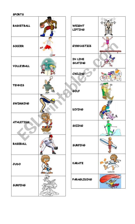 Sports Vocabulary For Kids Esl Worksheet By Franteacher