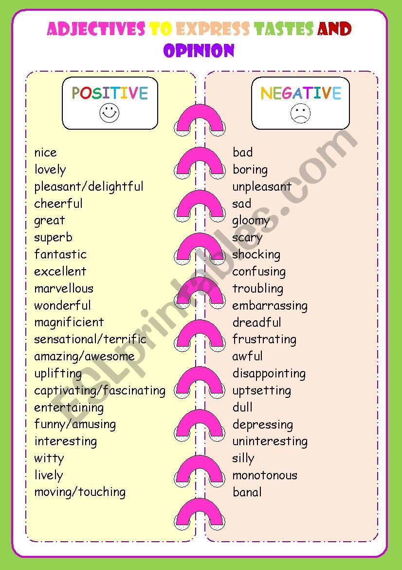 TASTES AND OPINION ADJECTIVES worksheet