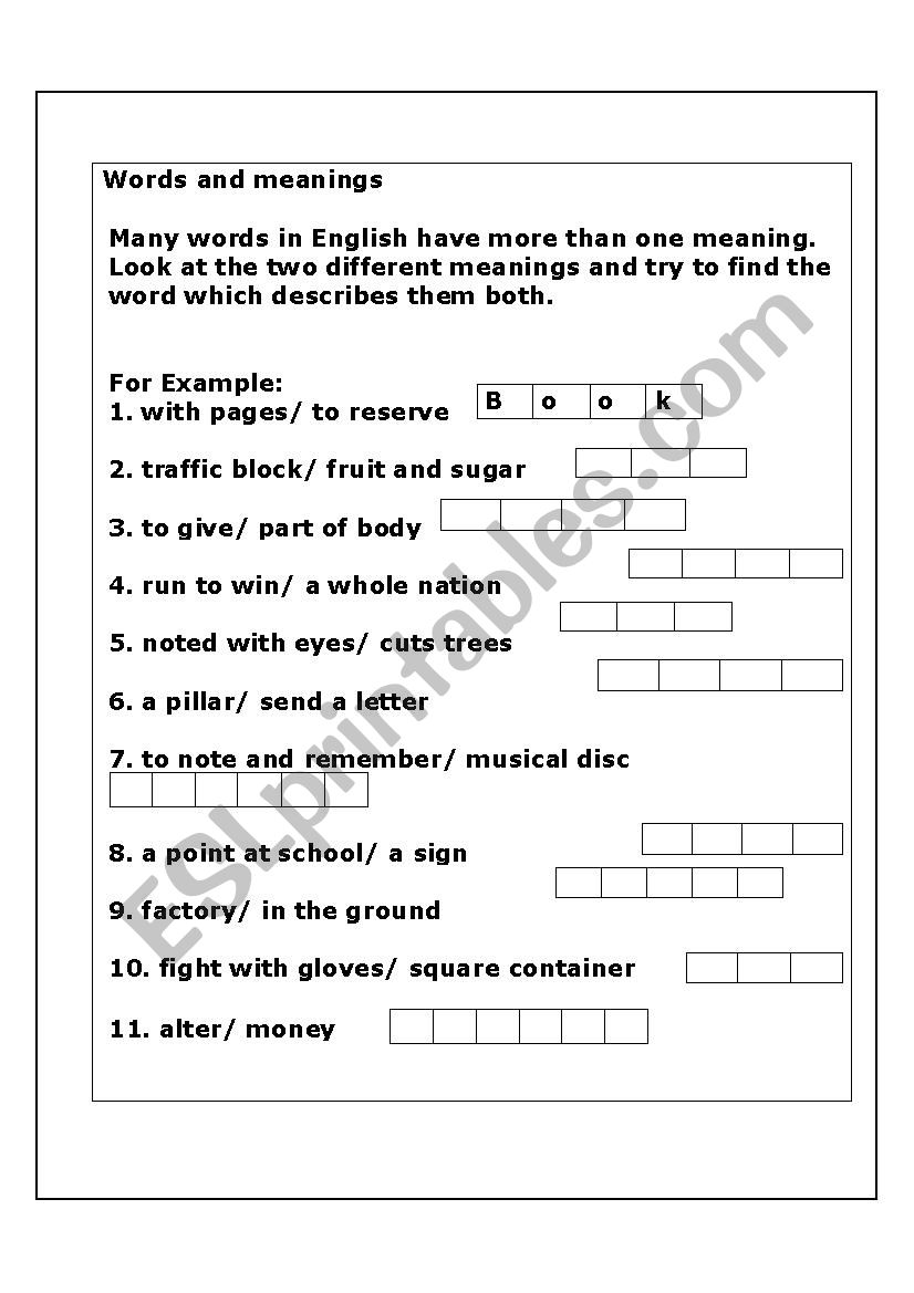 words and meanings worksheet