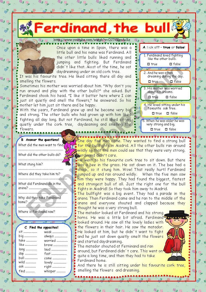 Ferdinand, the bull worksheet