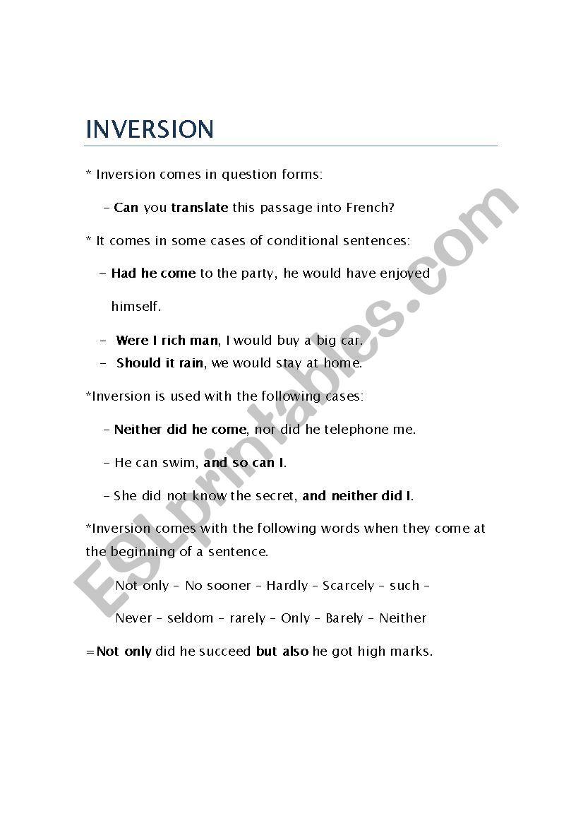 Inversion worksheet