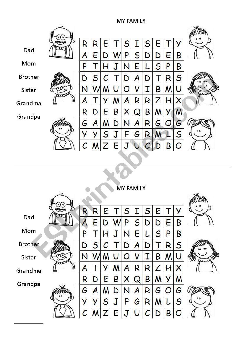 basic family wordsearch worksheet