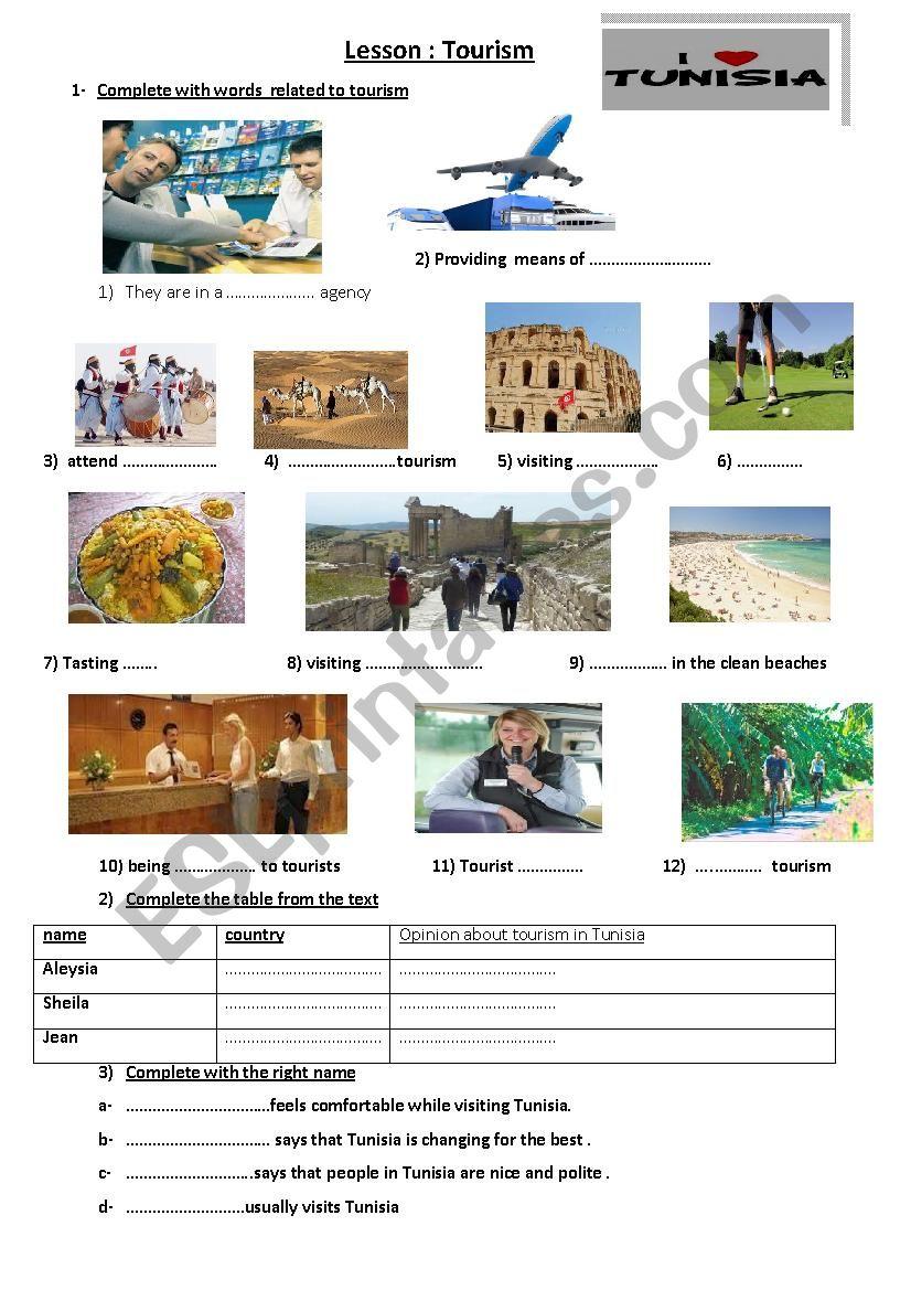 TOURISM  worksheet