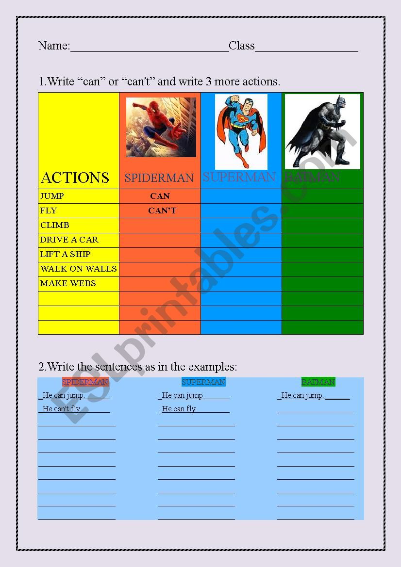 Superheroes can/can´t worksheet