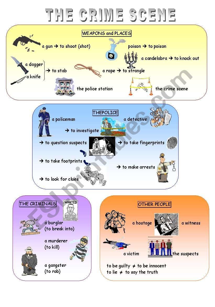 Crime scene vocabulary worksheet