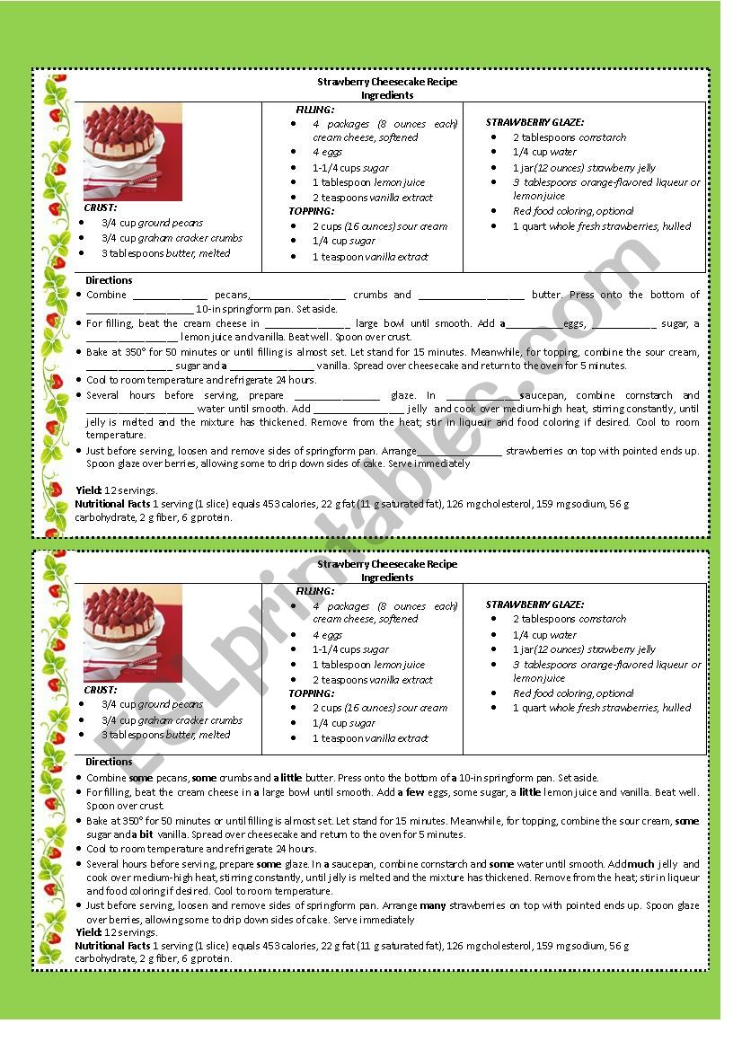STRAWBERRY CHEESECAKE RECIPE worksheet