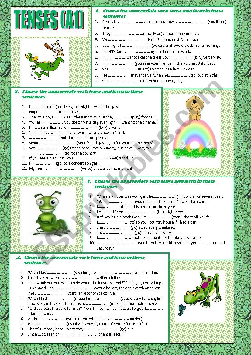 tenses (A1). With key worksheet