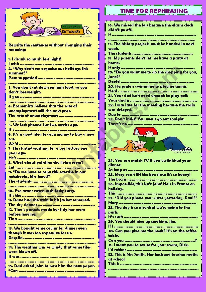 Time for rephrasing (+ key) worksheet