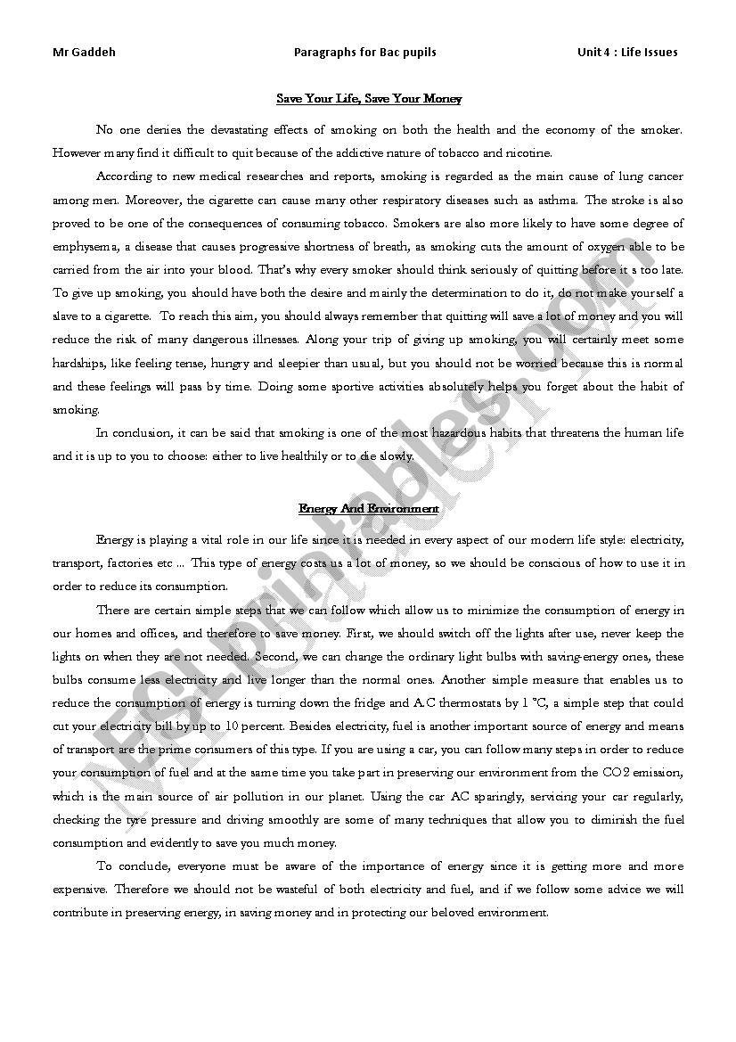 Smoking / Energy worksheet