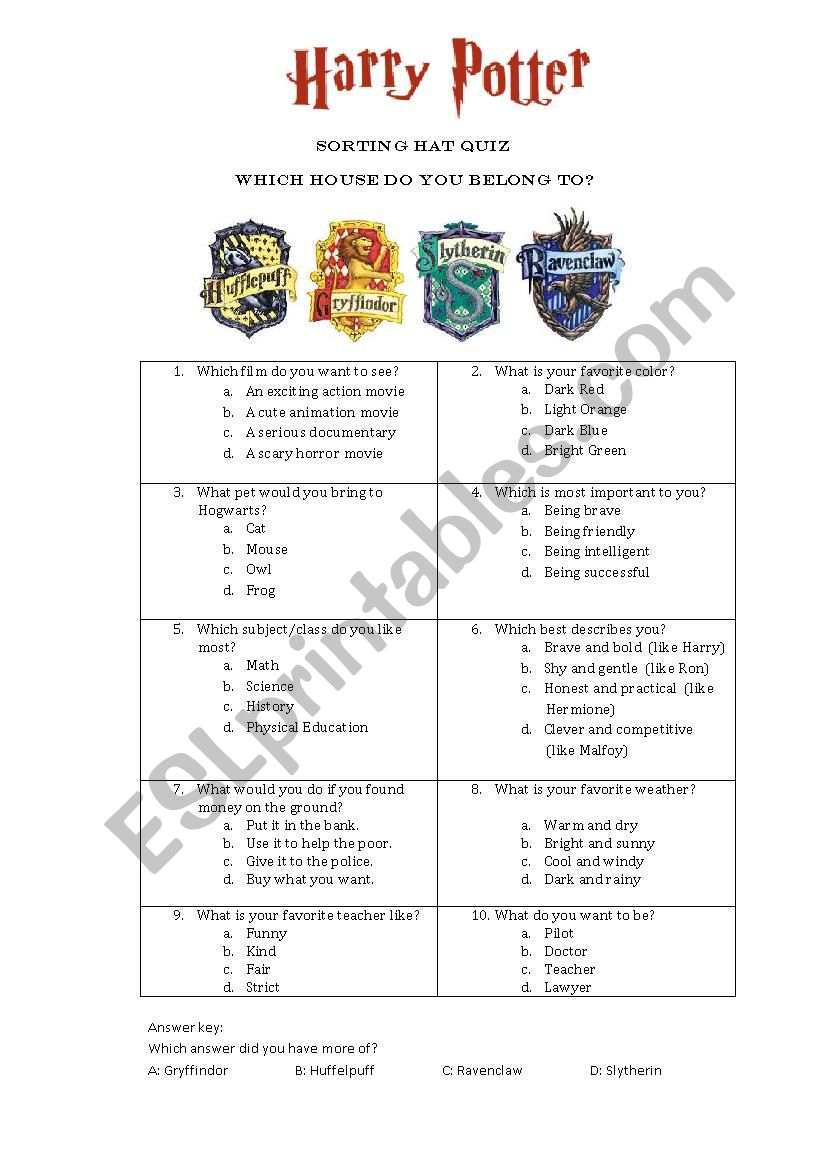 English worksheets: Sorting Hat Quiz Harry Potter