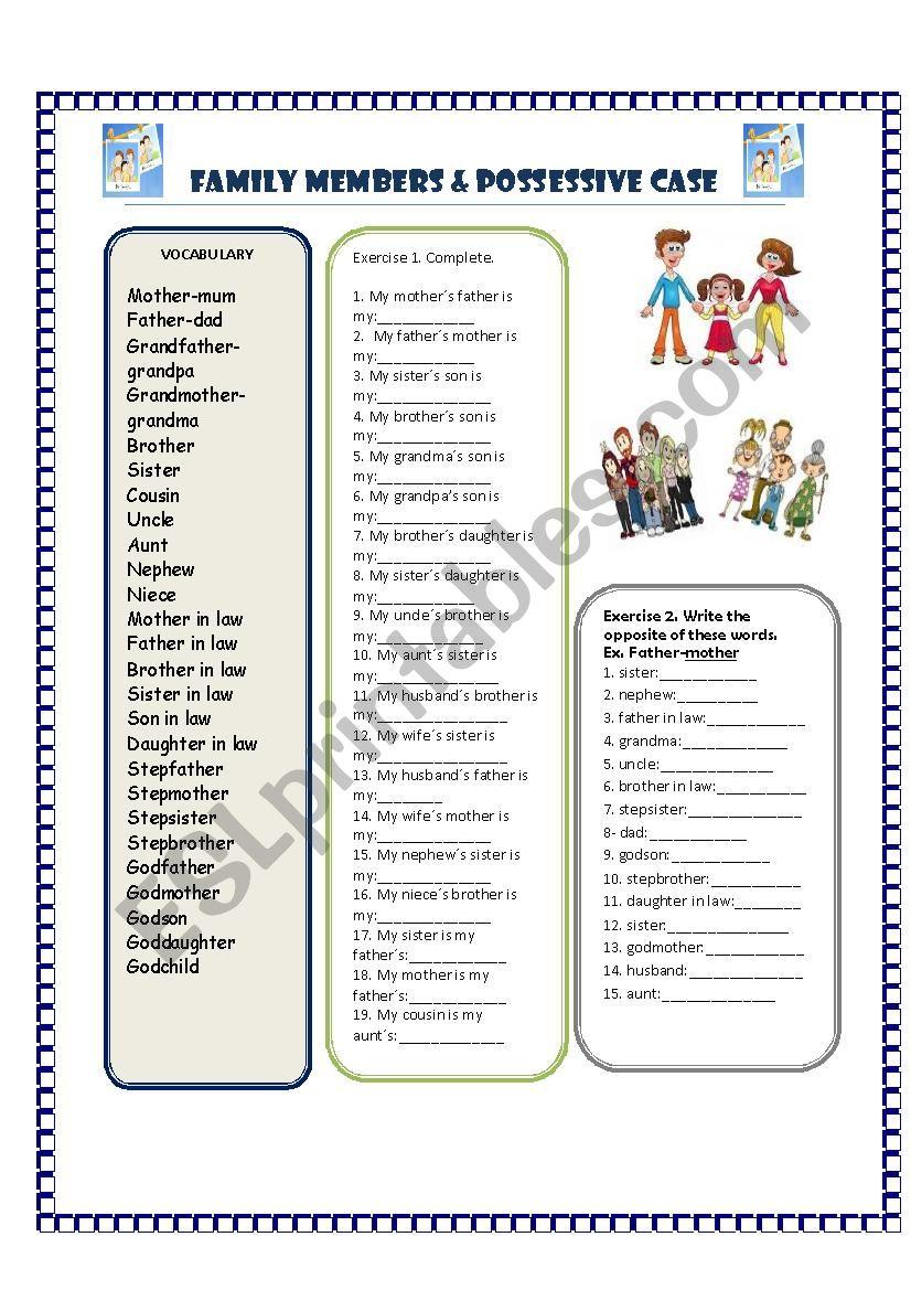 FAMILY & POSSESSIVE CASE worksheet