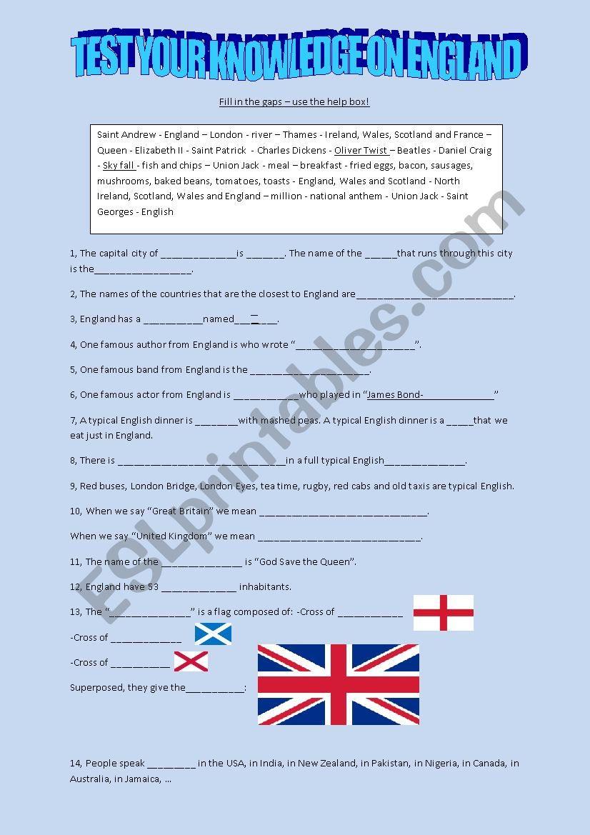 England - general knowledge quiz - ESL worksheet by hardcase
