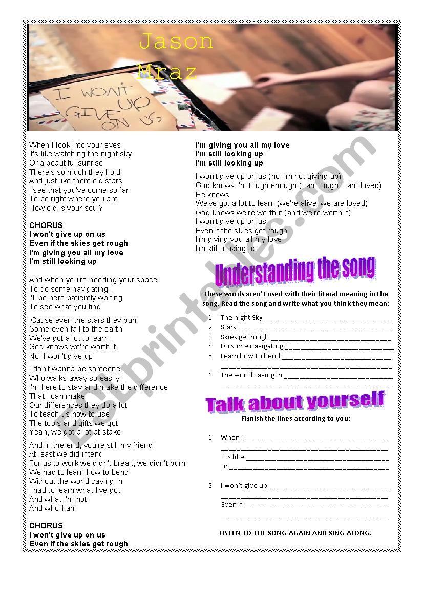 I won´t give up worksheet