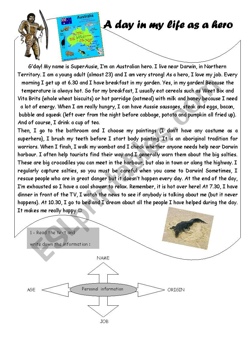 A day in my life as an Australian hero A1-A2 Reading