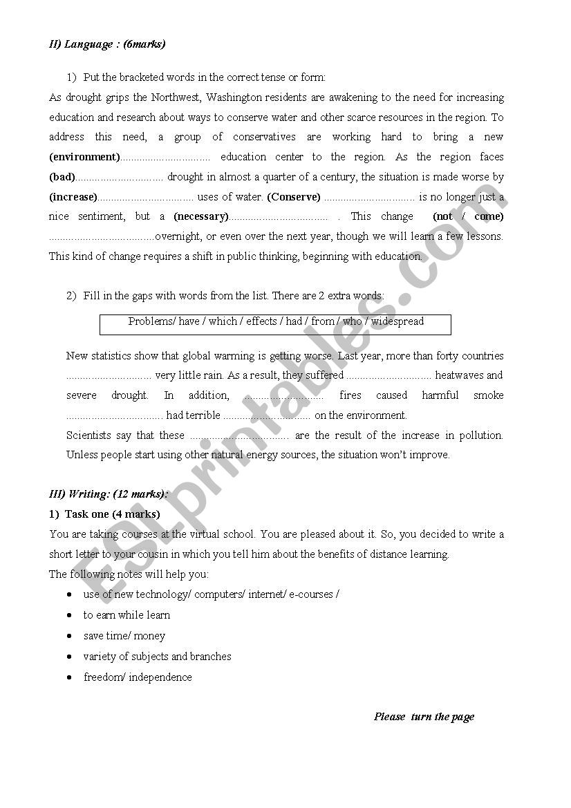 End-of-term test for 3rd year tunisian students May 2008 - ESL ...