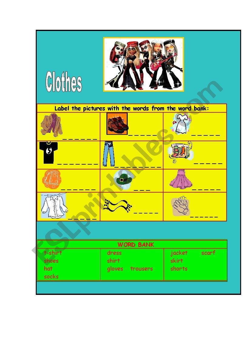 Clothes worksheet
