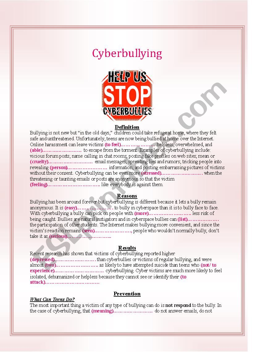 Cyberbullying (Definition,Reasons,Results and Prevention)