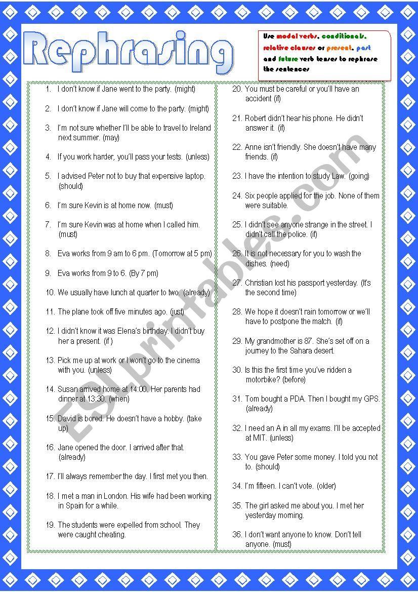 Rephrasing activities worksheet