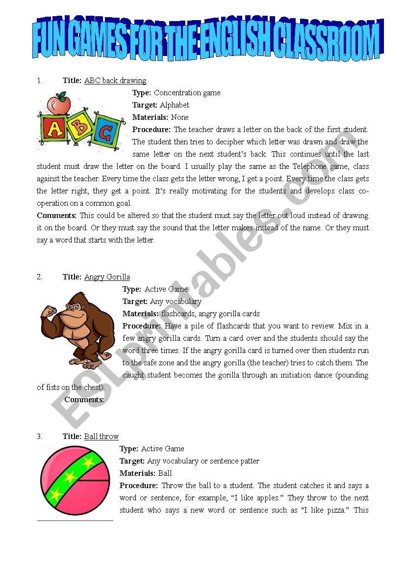 30 fun games for the english classroom