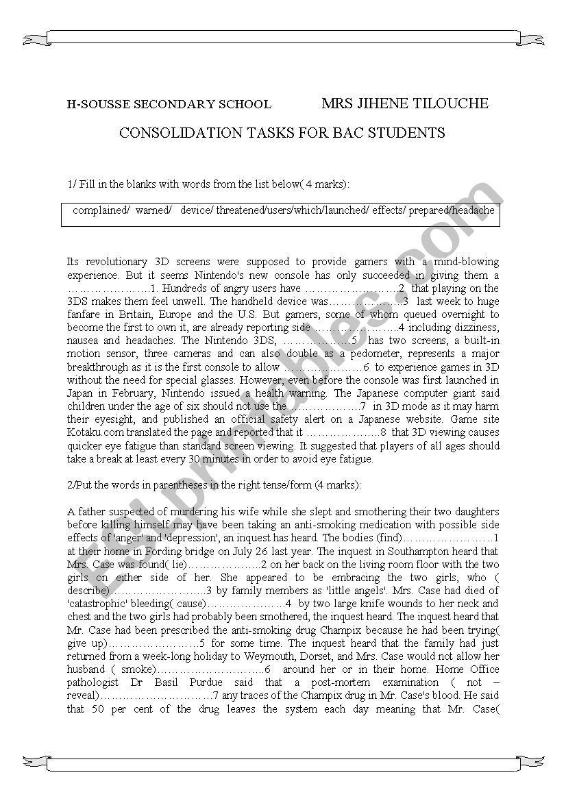 revision for bac students worksheet