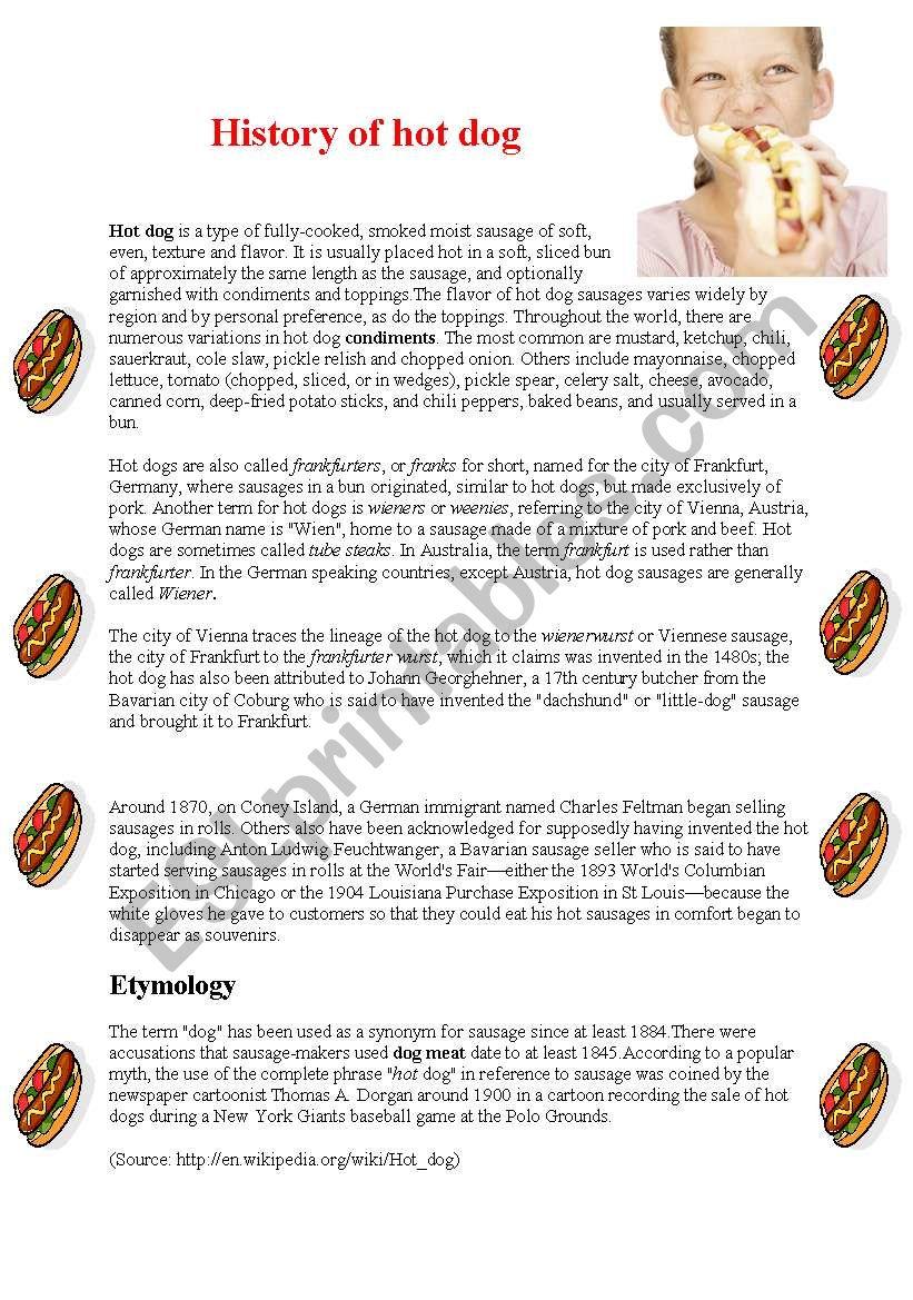 The history of hot dog worksheet