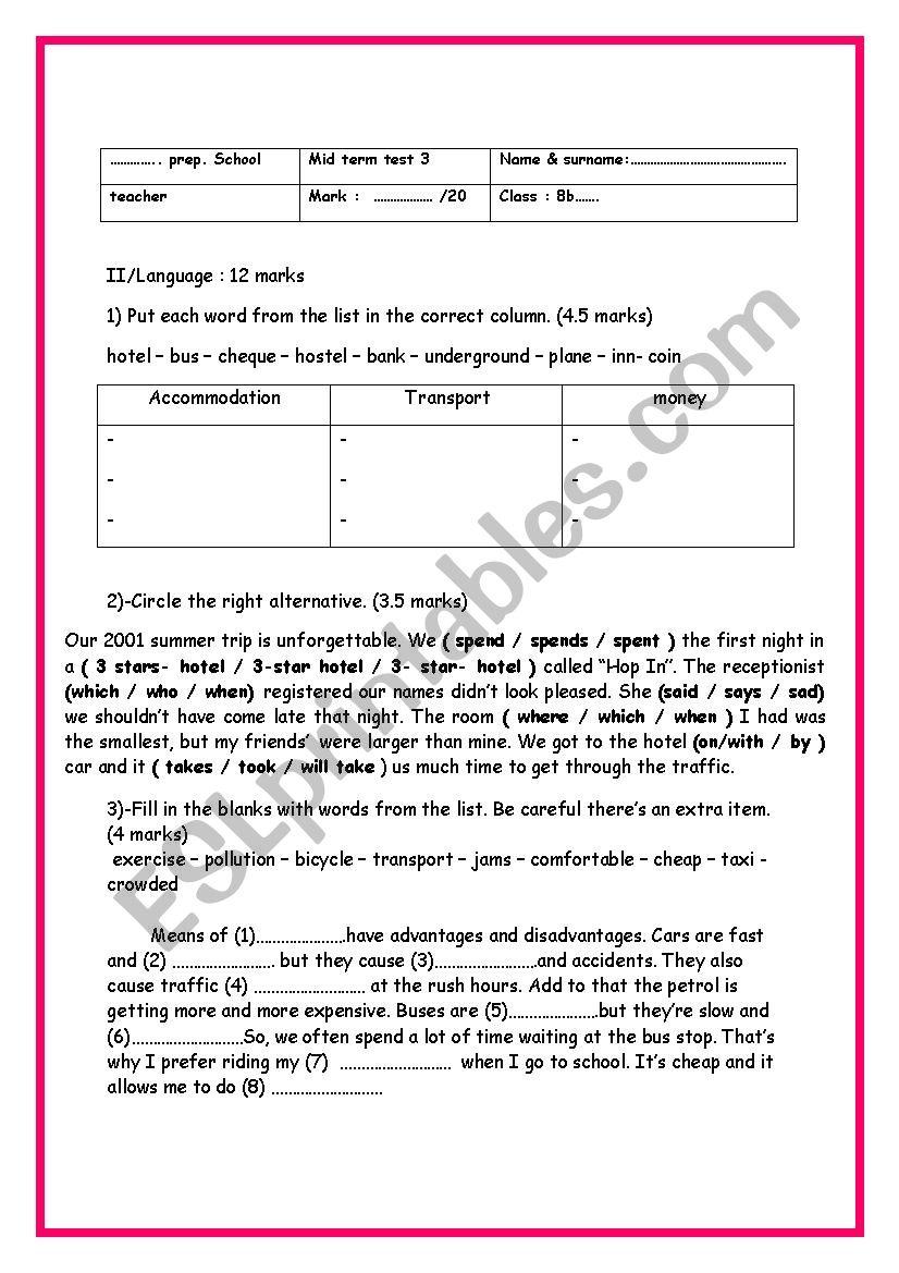 8th form mid term test 3 part 2 language