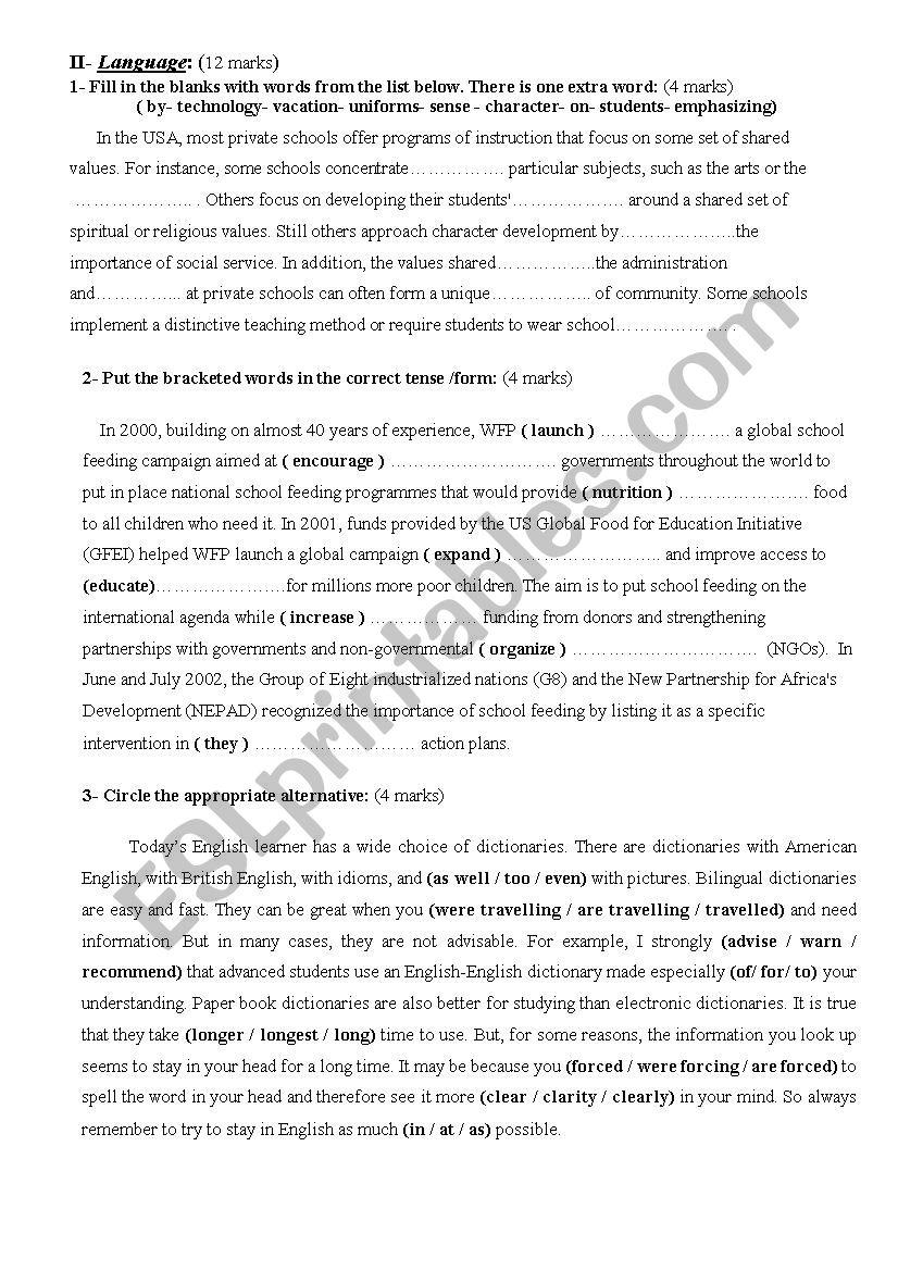 4th form tasks worksheet