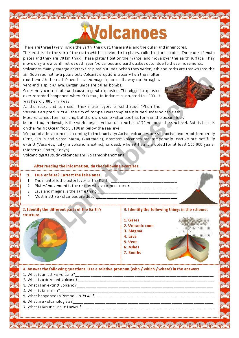 Volcanoes and earthquakes worksheet