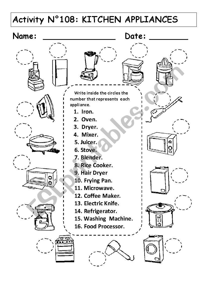 Kitchen Appliances Esl Worksheet By Andresdomingo
