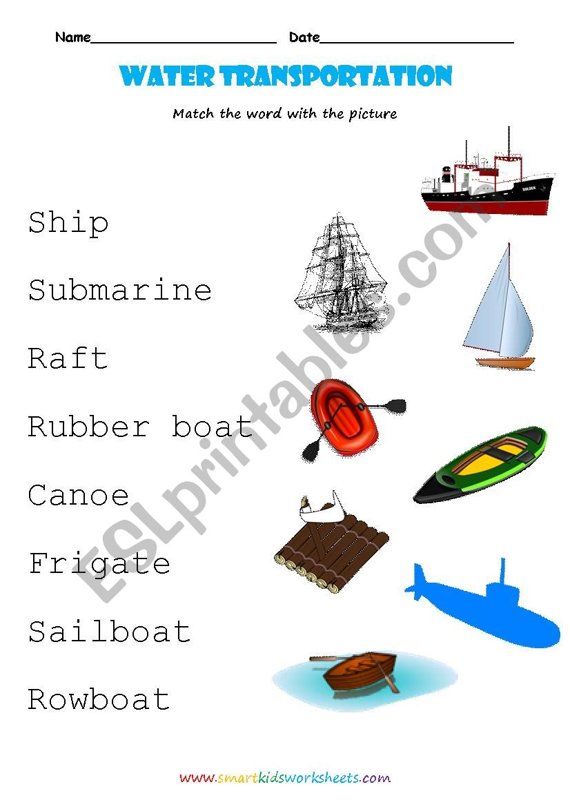 Water transportation worksheet