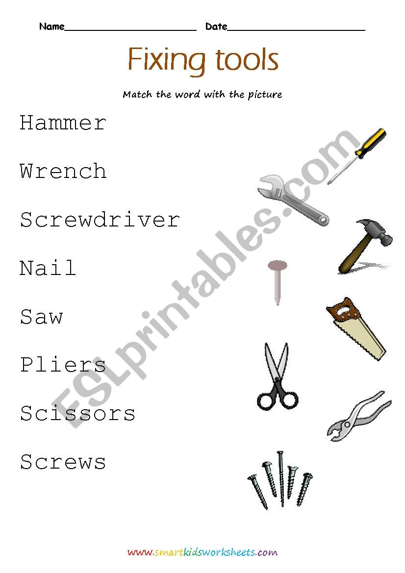 Tools names worksheet