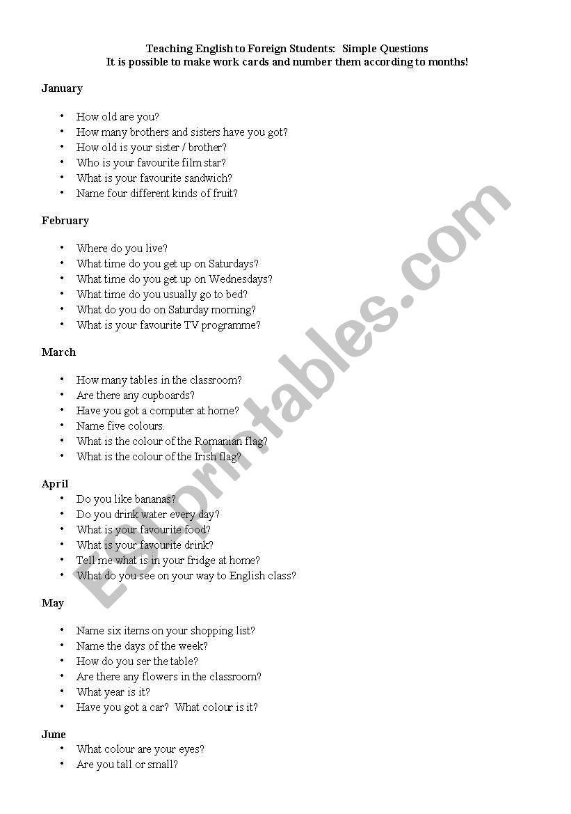Simple Questions worksheet