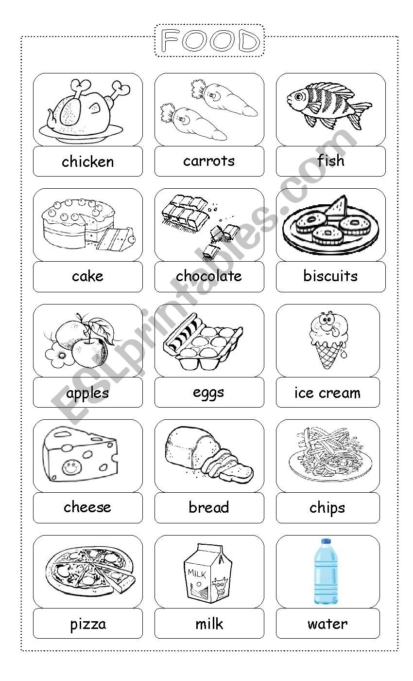 Food. Pictionary for young learners
