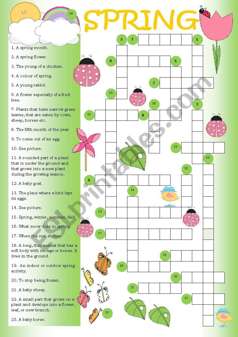 Crossword Spring Esl Worksheet By Mulle