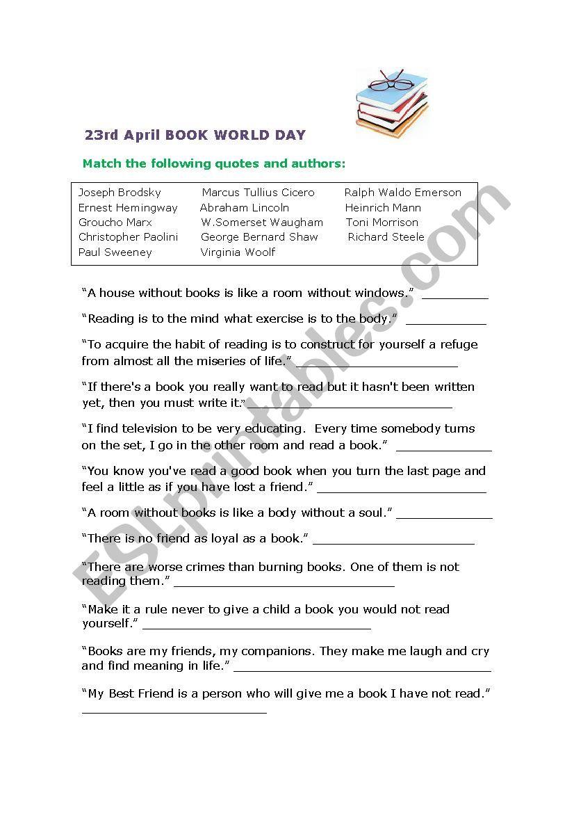World Book Day 23rd April worksheet