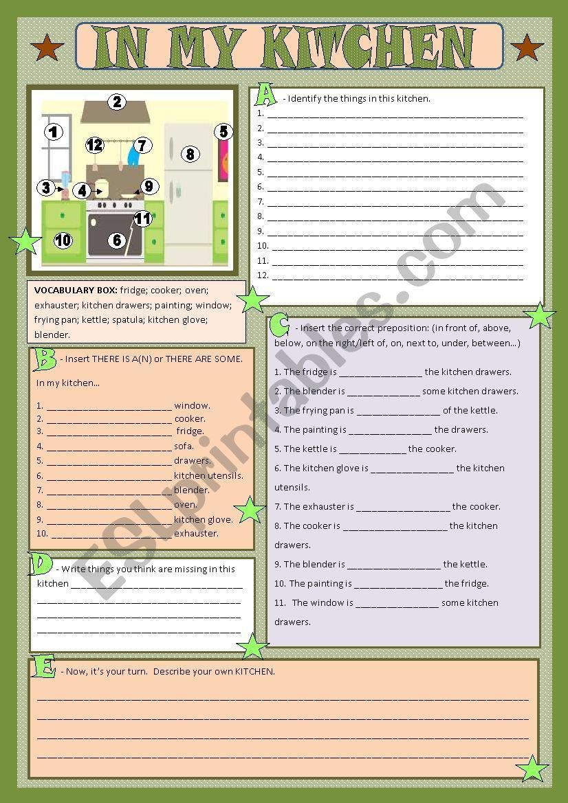 My kitchen worksheet