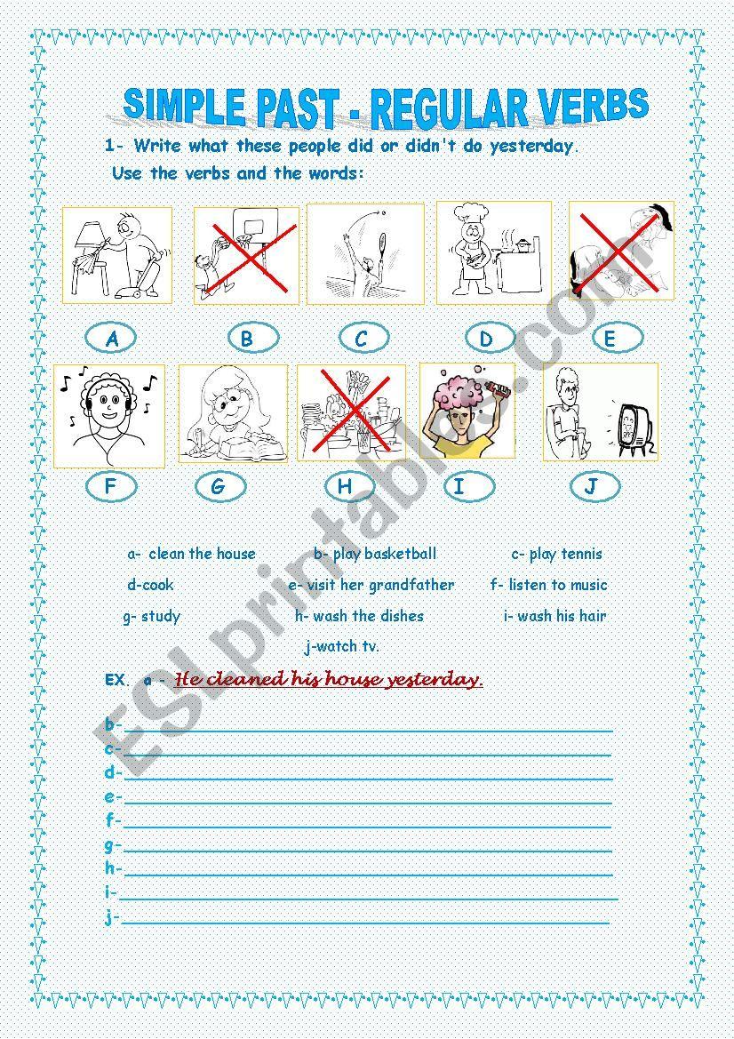 regular verbs for beginners worksheet
