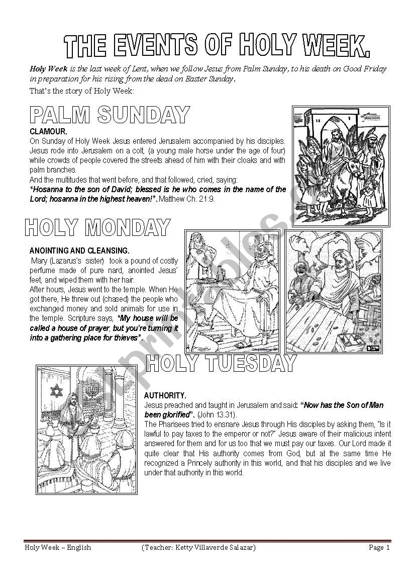 English worksheets: HOLY WEEK (FIRST PART)
