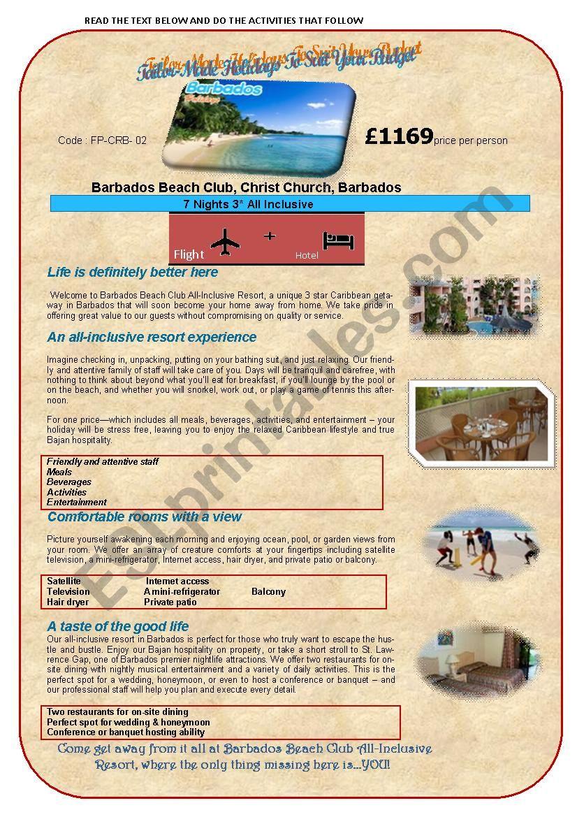 HOLIDAY ADVERT(1stpart) worksheet