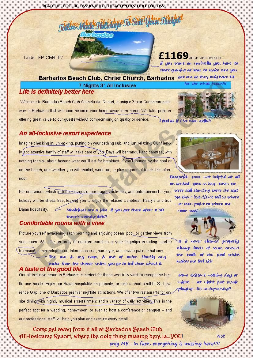 HOLIDAY ADVERT(2ndpart) worksheet