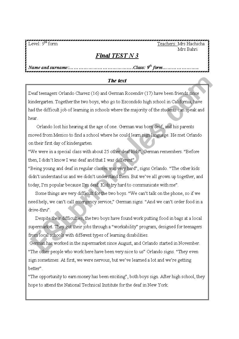 end term test N3- 2011-2012 worksheet