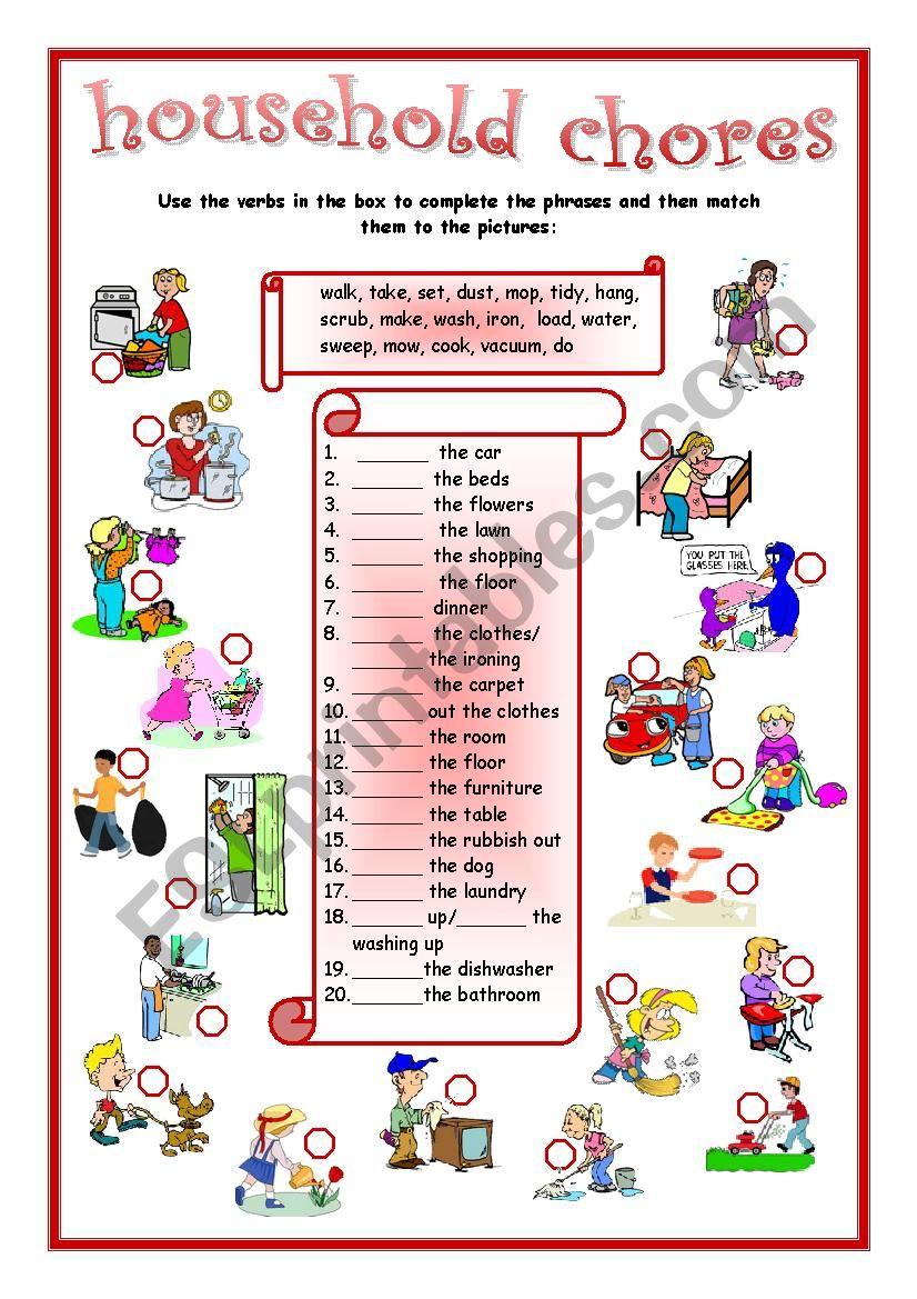 household chores matching worksheet