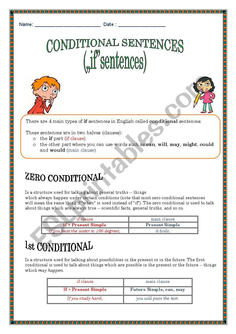 Conditionals ZERO, First, Second and Third