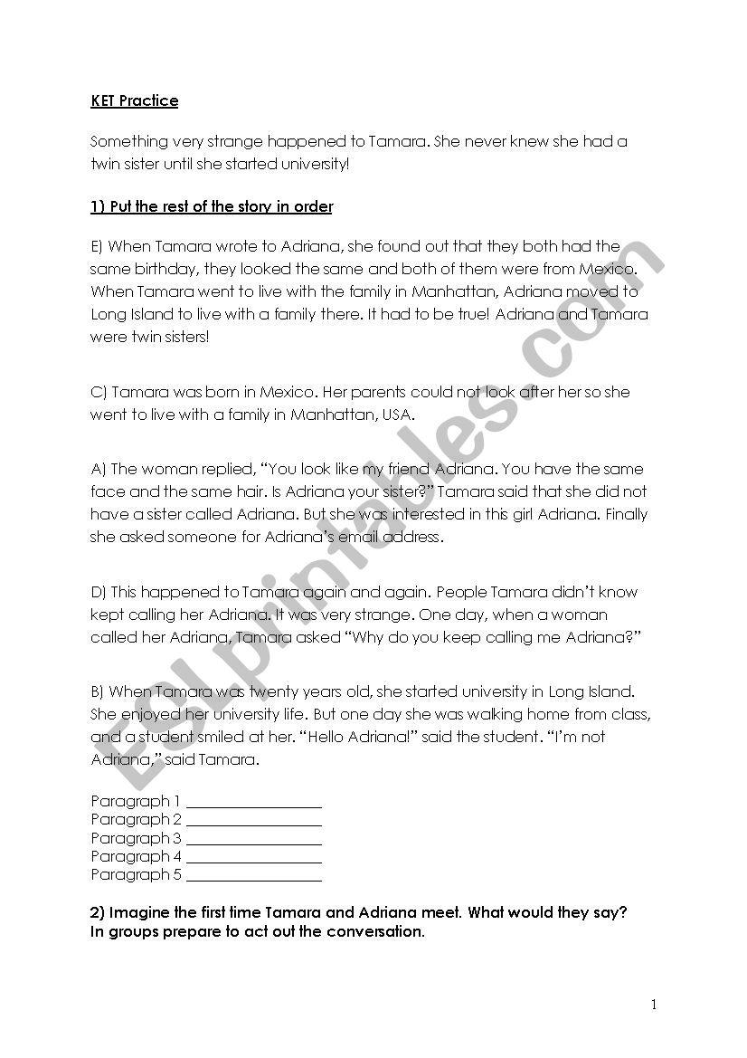 KET practice worksheet