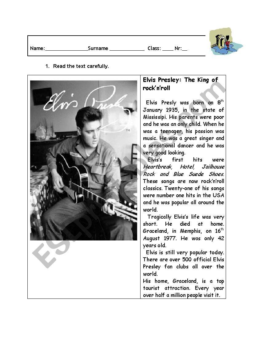 Elvis Presley worksheet