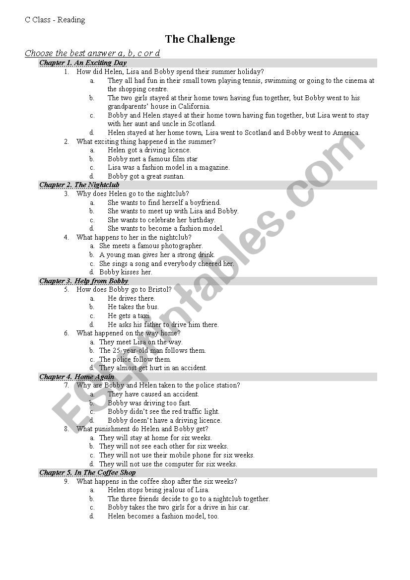 Test On The Challenge Readers By Burlington Books Esl Worksheet By Ep89za