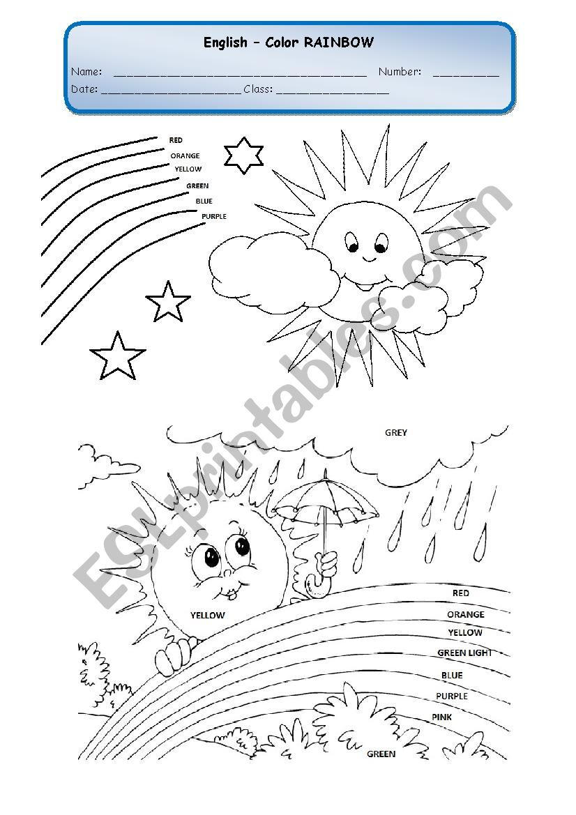 COLOR THE RAINBOW 2 worksheet